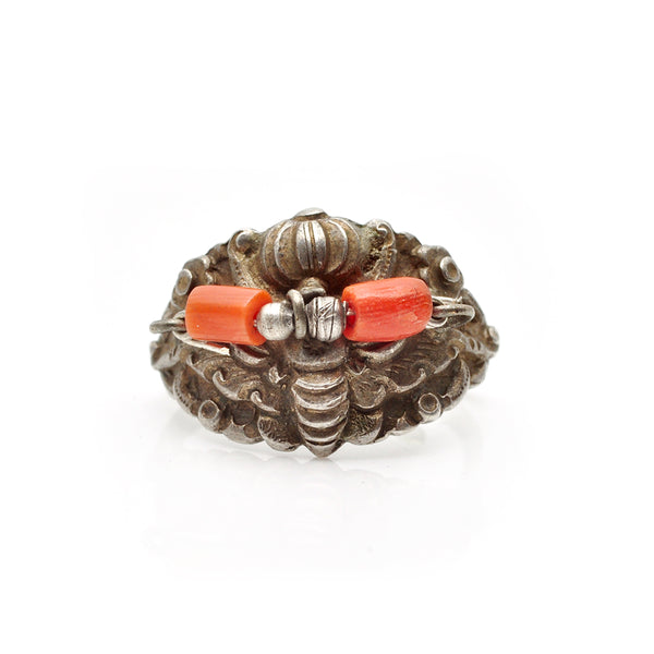 Moth Coral Ring