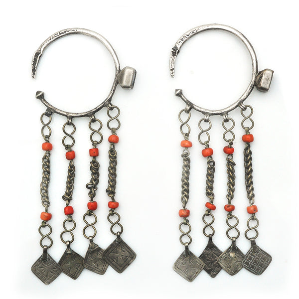 Berber Coral Curtain Earrings