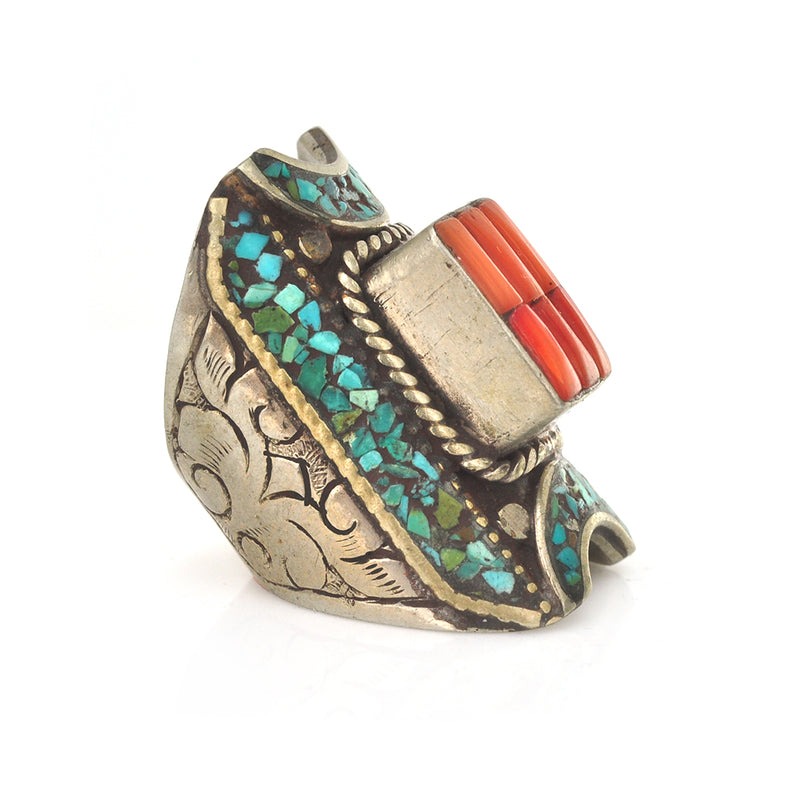 Tibetan Coral Saddle Ring