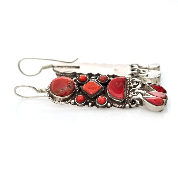 Tibetan Coral Earrings
