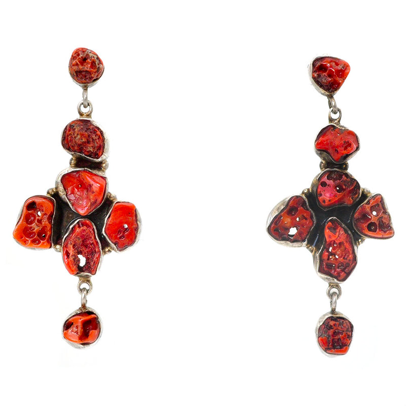Raw Coral Earrings