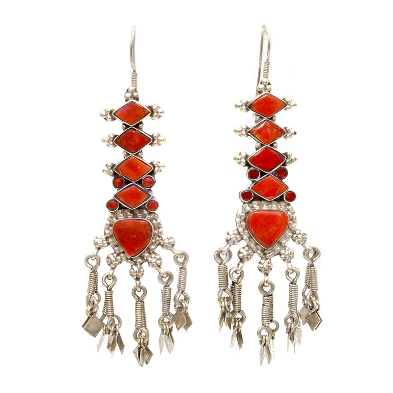 Mega Coral Fringe Earrings