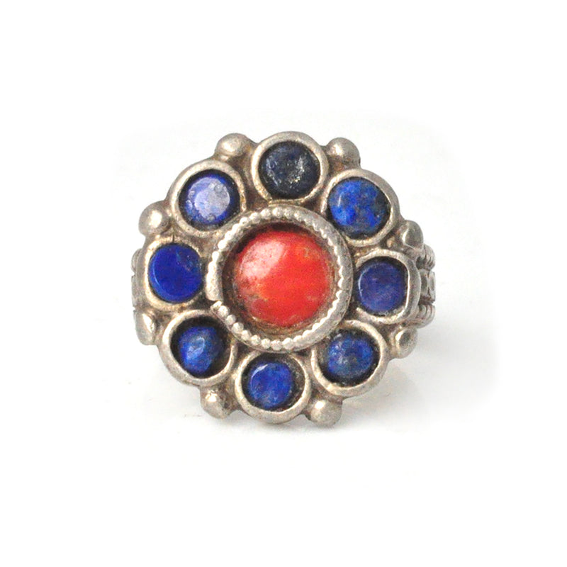 Coral and Lapis Blossom Ring