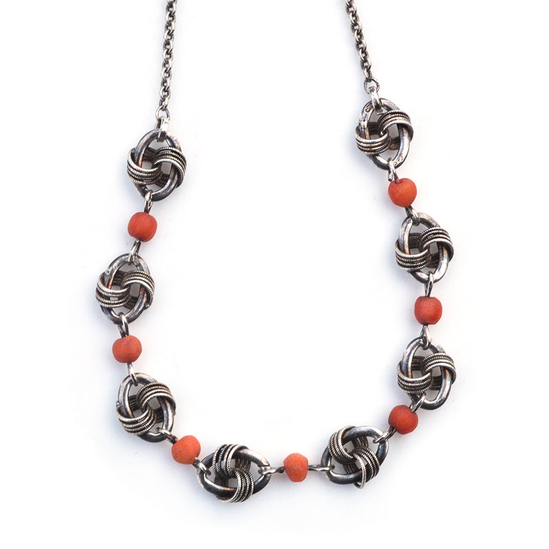 Coral Lovers Knot Necklace