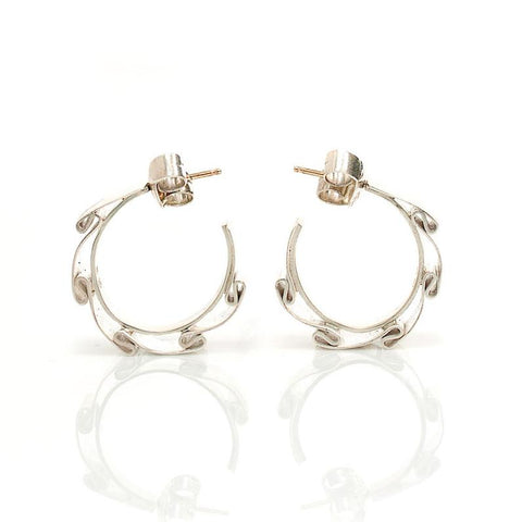 Earrings - Sculptural Silver Hoops