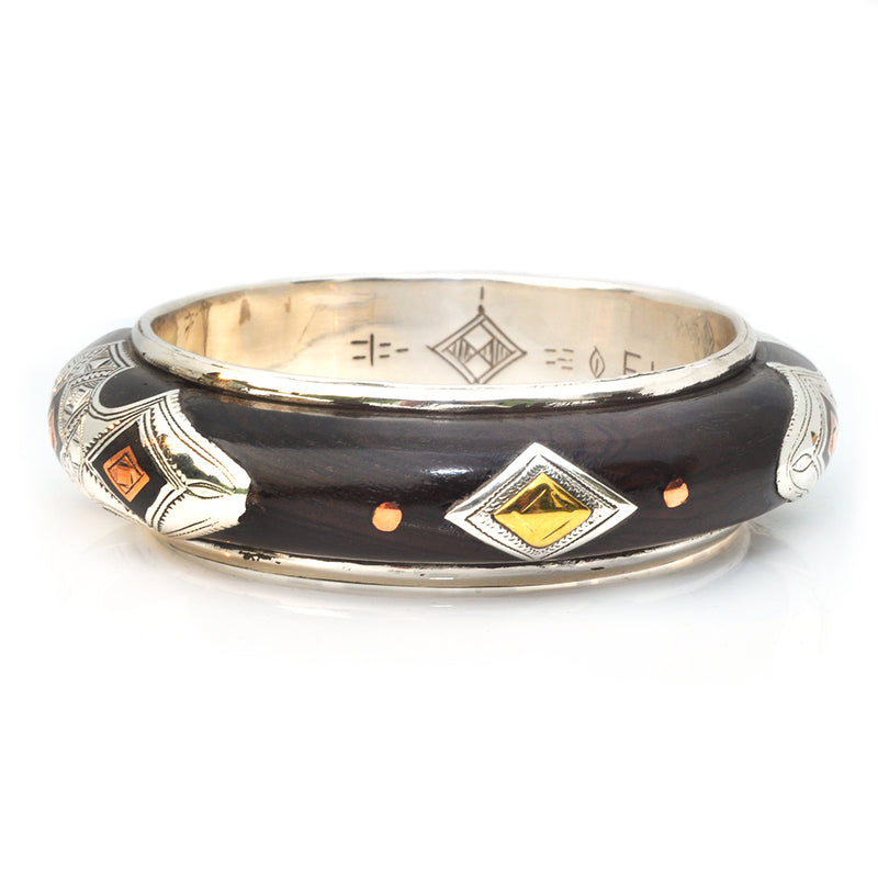 Three Diamond Ebony Bangle