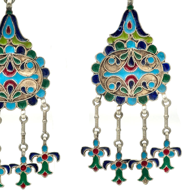 Uzbeki Enamel Earrings