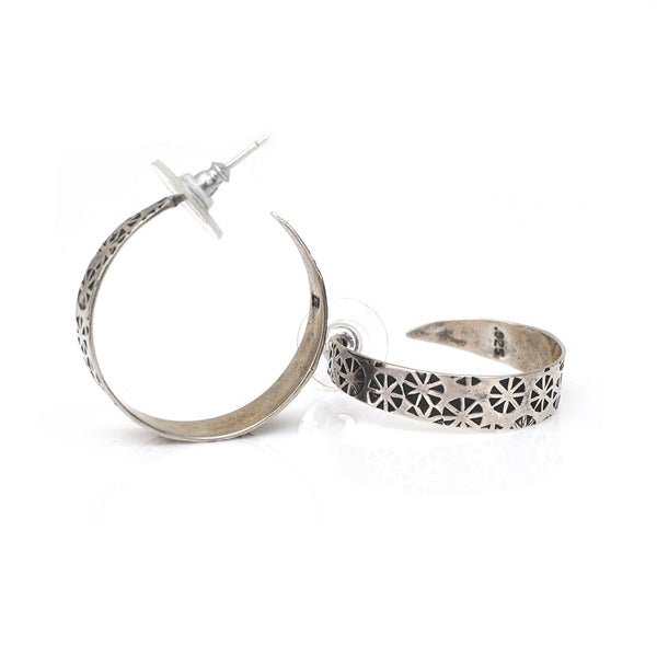 Chased Silver Hoop Earrings