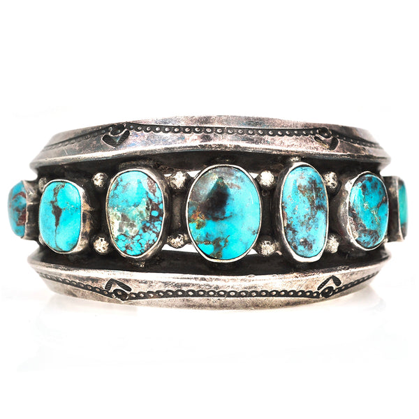 Lucky 7 Stone Turquoise Cuff