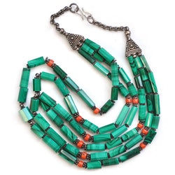 Malachite & Coral Necklace