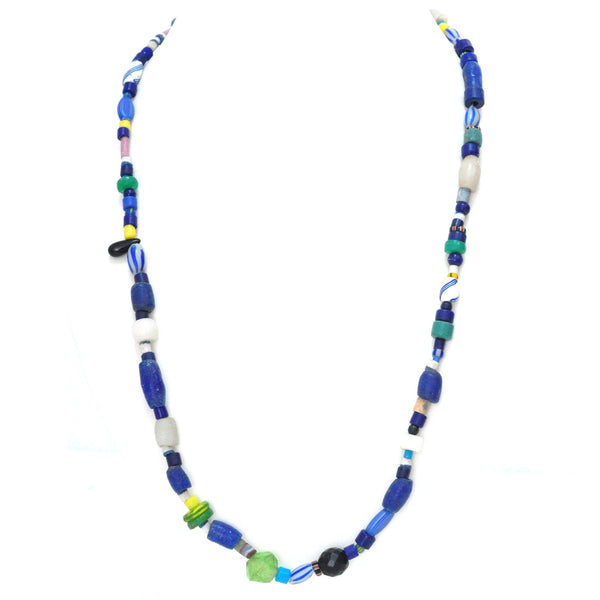 Necklace - Blue & White Tradebeads