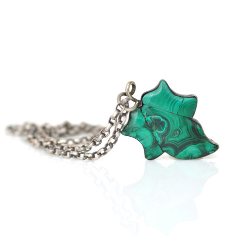 Necklace - Malachite Scottish Leaf