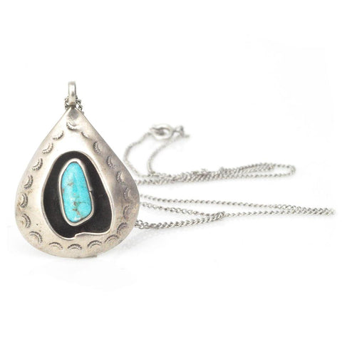 Necklace - Turquoise Pebble Pendant