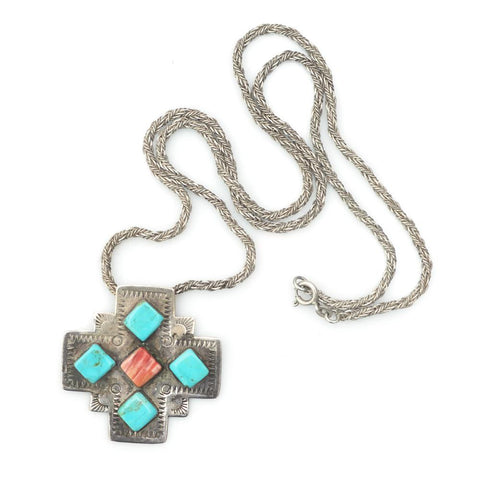 Necklaces - Turquoise & Spiny Oyster Cross