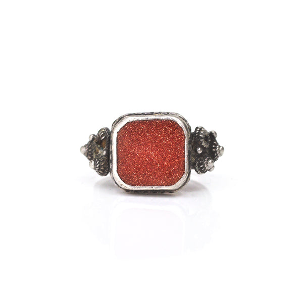 Goldstone Signet Ring