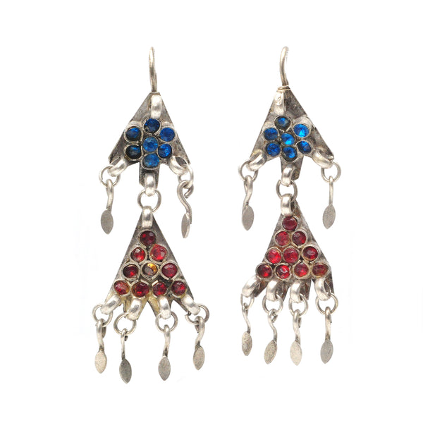 Blue &  Red Glass Earrings