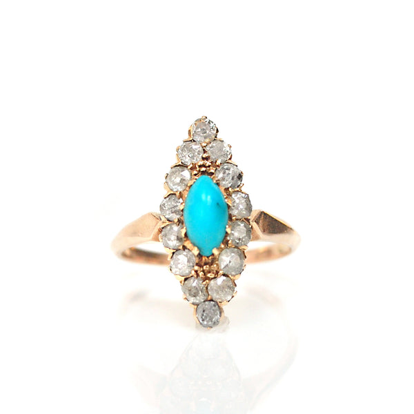 Ring - Diamond & Turquoise Navette Ring
