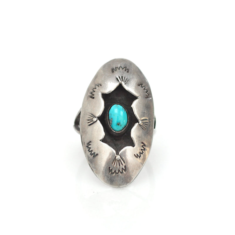 Ring - Long Shadowbox Turquoise Ring