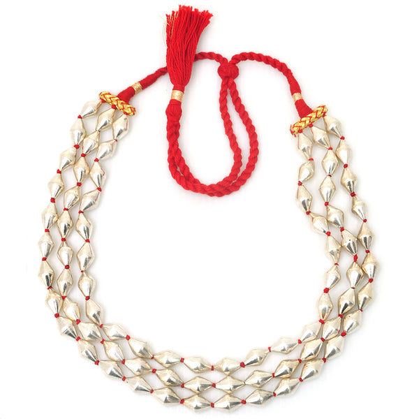 Silver Lacquer bead necklace