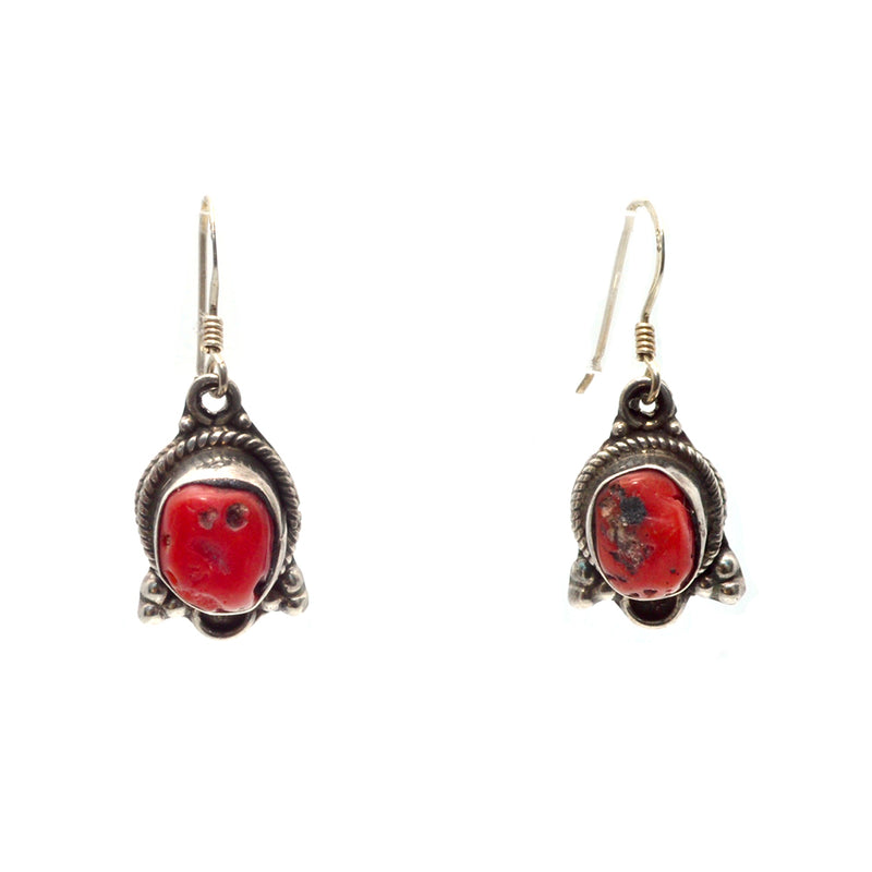 Tiny Tibetan Coral Earrings