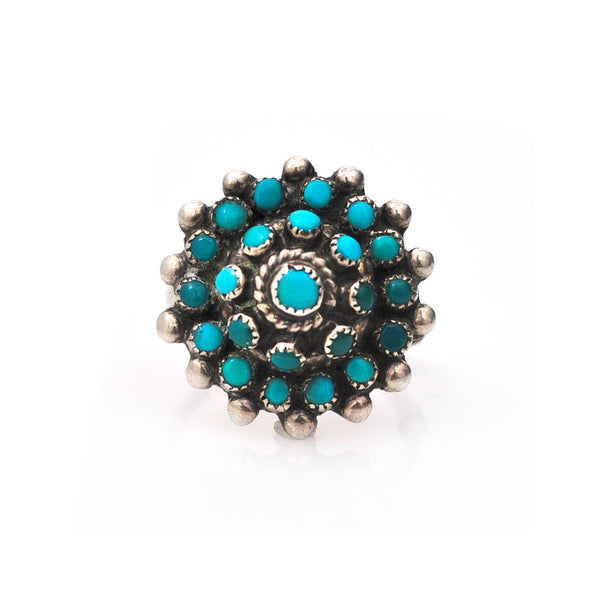 Zuni Turquoise Cluster Ring