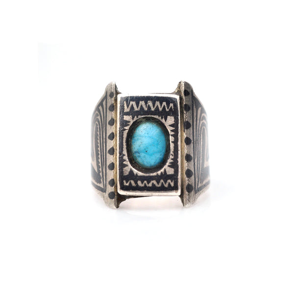 Niello Blue Signet Ring