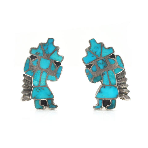Turquoise Rainbow Man Earrings