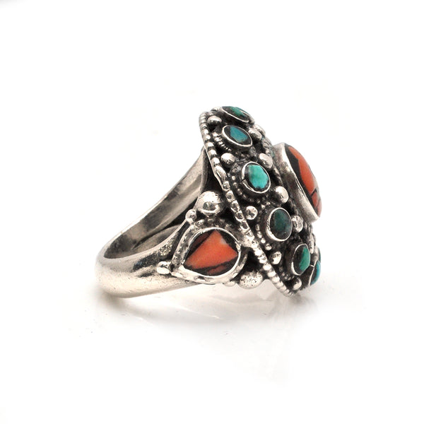 Nepalese Coral and Turquoise Ring