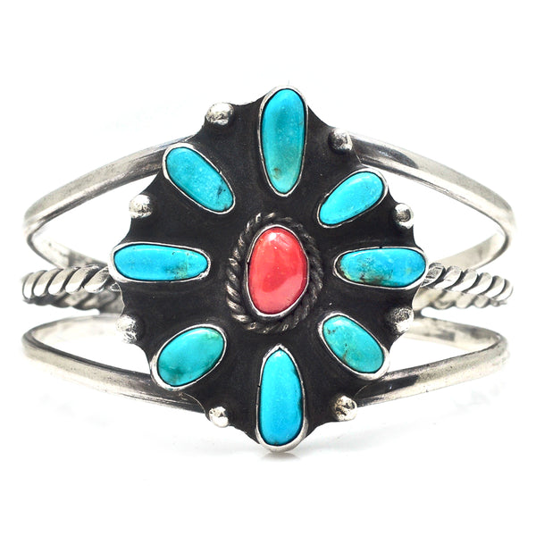 Turquoise and Coral Flower Cuff