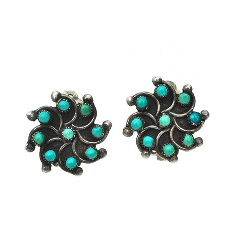 Zuni Flower Clip Earrings