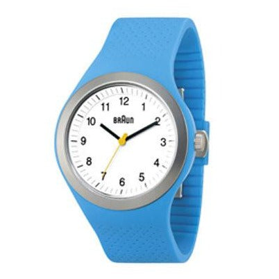 Braun - BN-111WHBLG Men's Sports Watch, White Dial, Blue Silicone Band