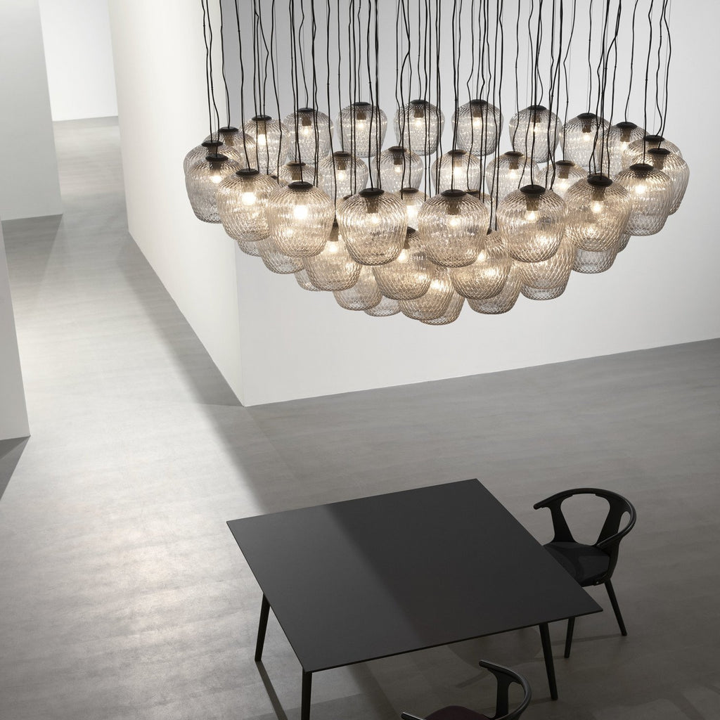 Blown Pendant Lamp SW3, silver lustre