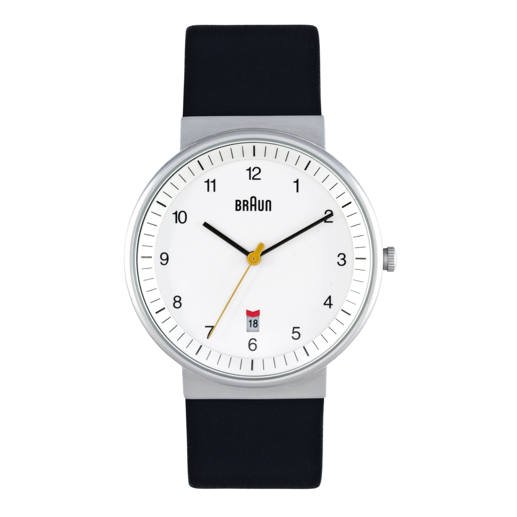 Braun - BN-32WHBKG Men's White dial, black leather band, date, 40 mm Diam.