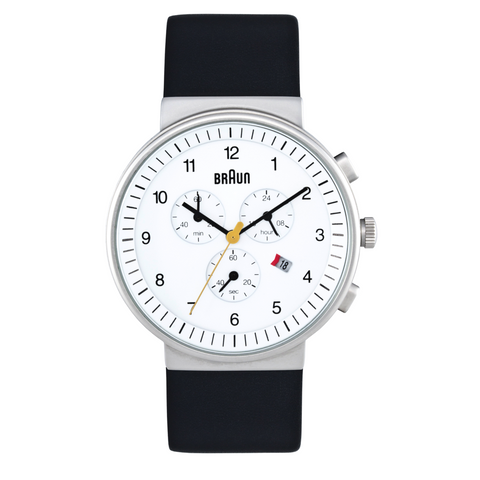 Braun - Men's BN-35WH Analog Chronograph, White dial, black band