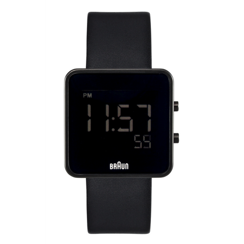 Braun - Men's BN-46BK Square Watch, 12/24 hr Digital LCD