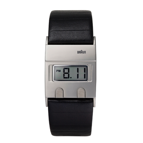 Braun - Men's BN-76SLBKG Square 24 hour Digital watch, black leather band