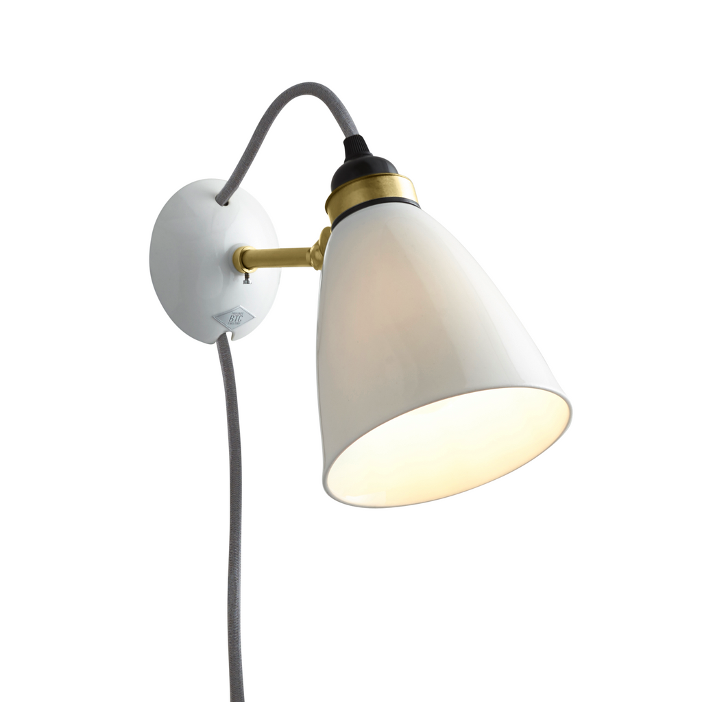 Hector 30 Wall Light, Plug with Switch, Satin Brass