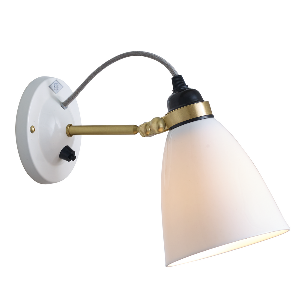 Hector 30 Wall Light, Switch on Backplate, Satin Brass