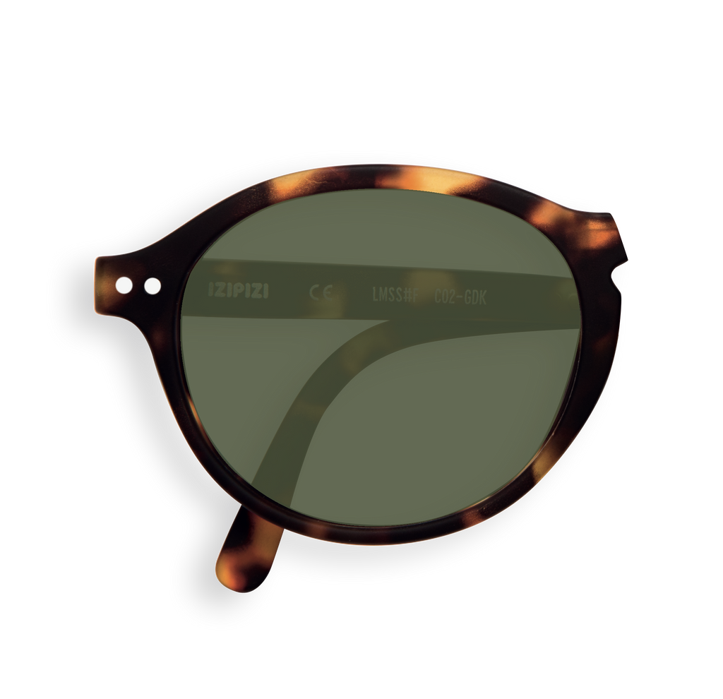 Foldable Sunglasses - F - Green Lenses - Tortoise