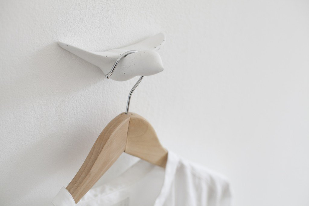Concrete Bird Wall Hooks