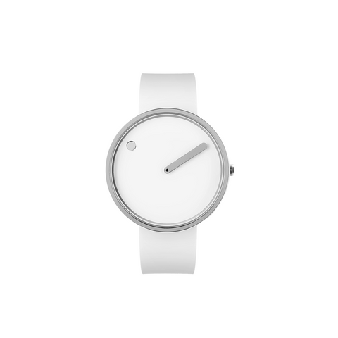Picto - 40mm White / Polished Steel