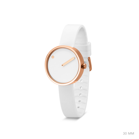Picto - 30mm White / Polished Rose Gold