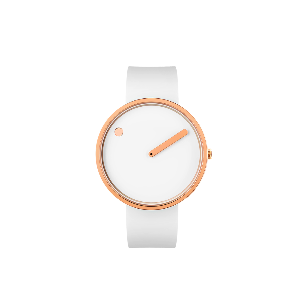 Picto - 40mm White / Polished Rose Gold