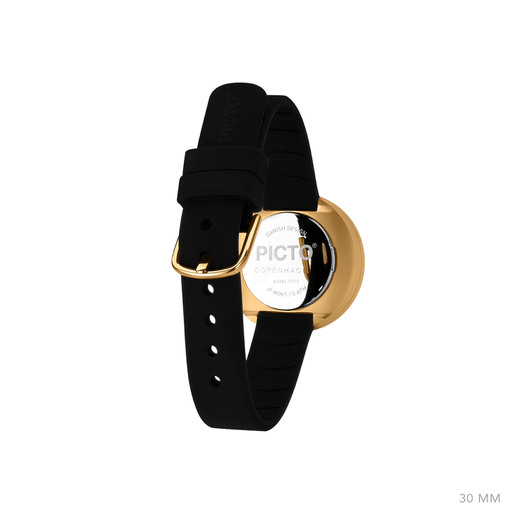 Picto - 30mm Black / Polished Rose Gold