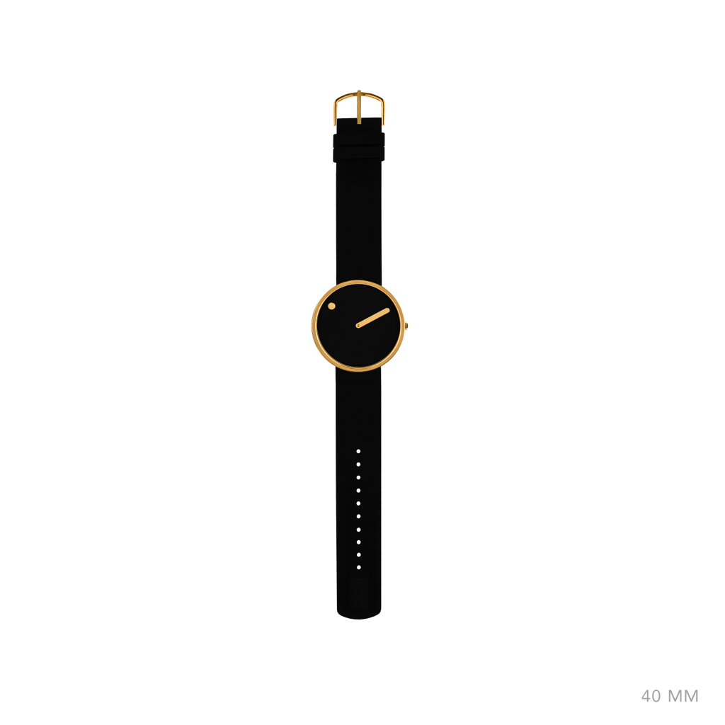 Picto - 40mm Black / Polished Rose Gold