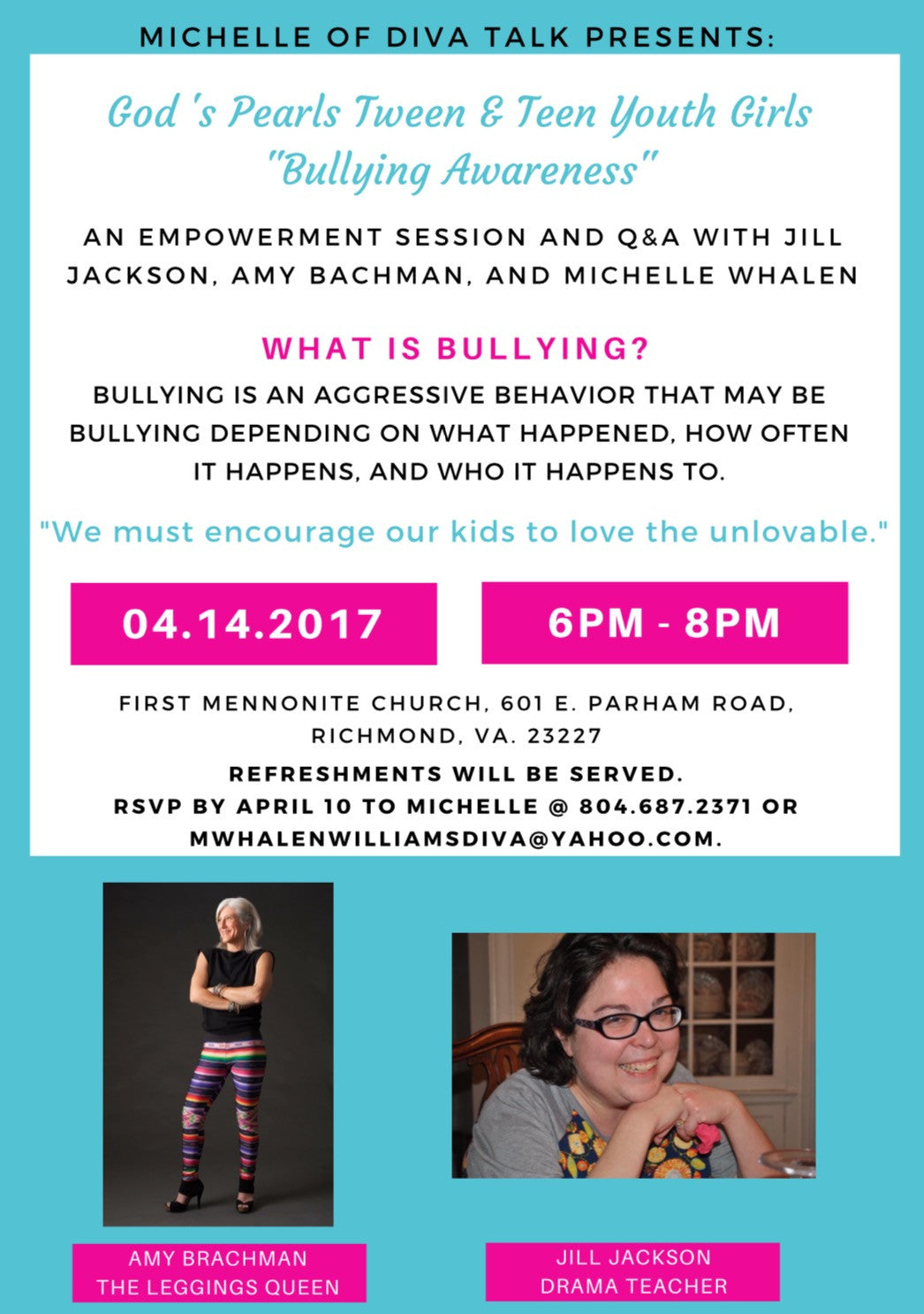 April 14 / Diva Talk Tween & Teen Empowerment Session / Richmond, VA  6-8pm