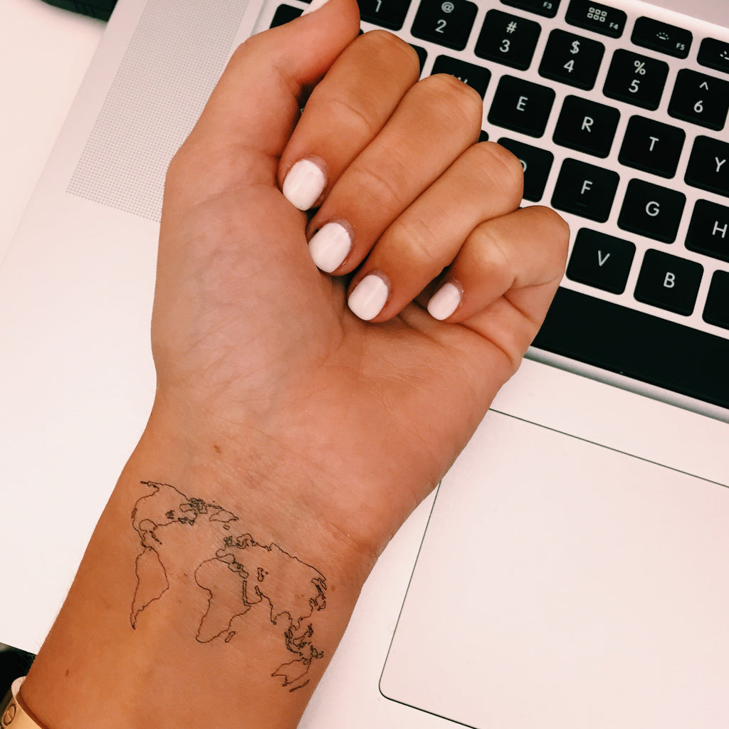 World map temporary tattoo inked by dani inked by dani temporary tattoos the world map gumiabroncs Gallery