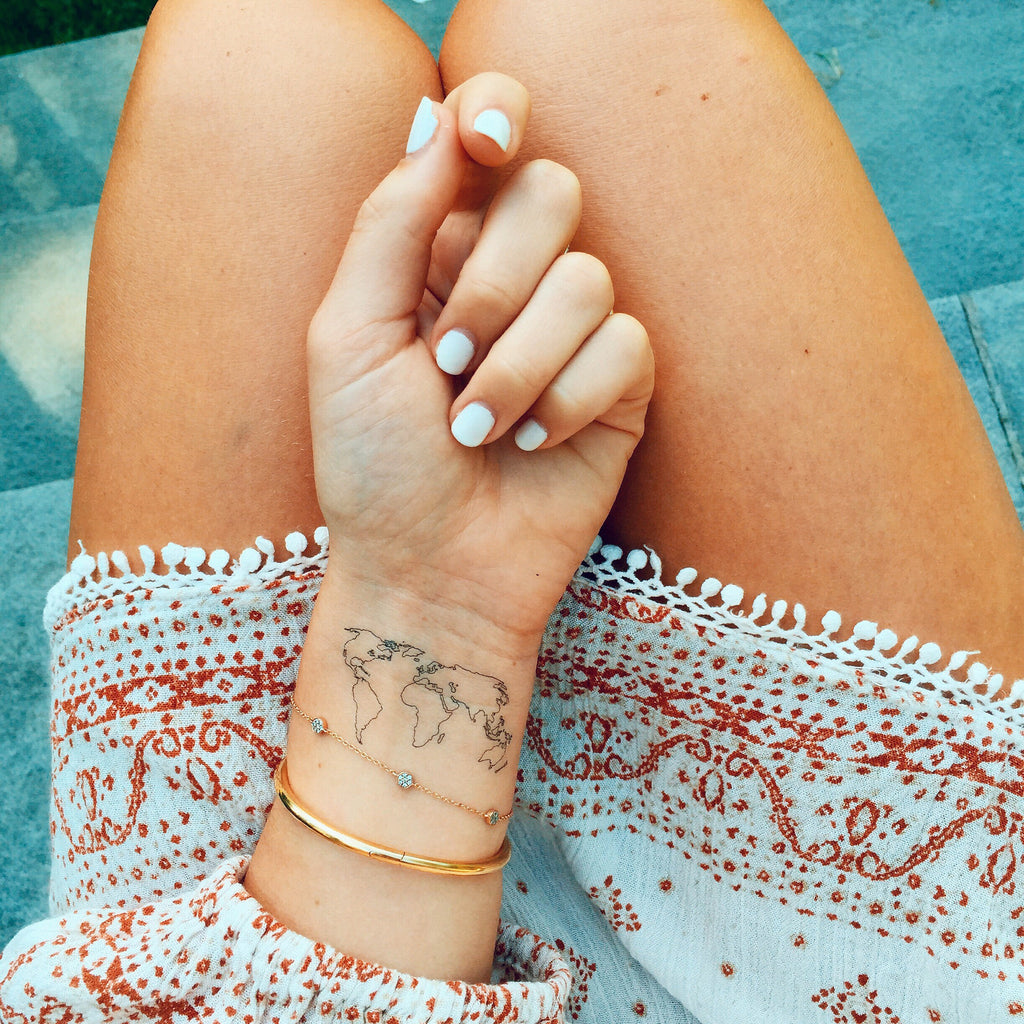 World map temporary tattoo inked by dani temporary tattoos the world map the world map gumiabroncs Image collections