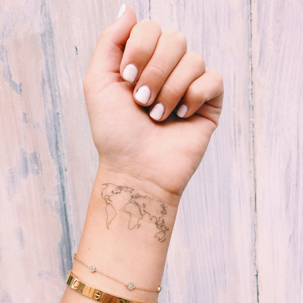 World map temporary tattoo inked by dani inked by dani temporary tattoos the world map gumiabroncs Image collections