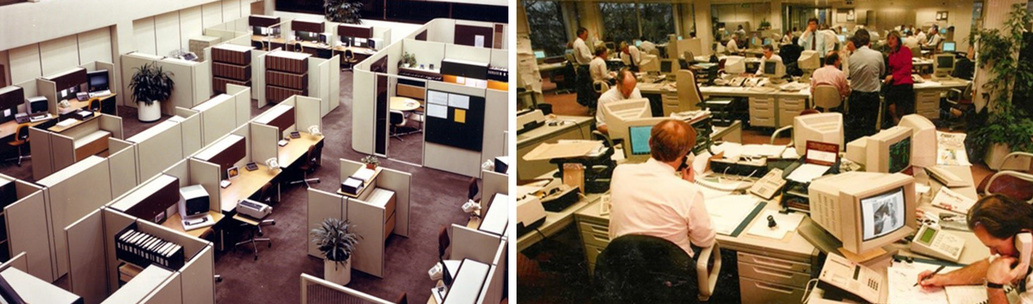 Closed and Open Office Plans in the 1980s-90s. (Image Credit: frovi.co.uk)